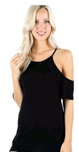Black cold shoulder lounge sexy cutout tee shirt